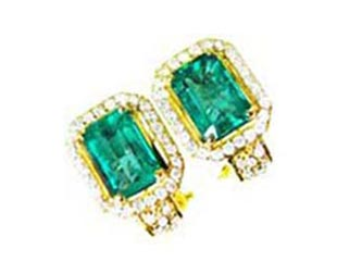 Modern emerald earrings
