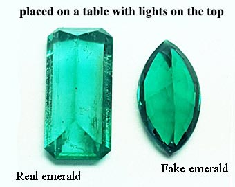Natural emeralds and fake emeralds