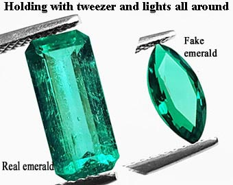 Real colombian emeralds and fake emeralds